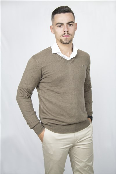SWEATERVNECK-W20 (30BROWN)